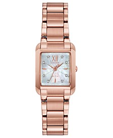 Eco-Drive Women's Bianca Diamond-Accent Rose Gold-Tone Stainless Steel Bracelet Watch 22mm