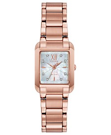 Citizen Eco-Drive Women's Bianca Diamond-Accent Rose Gold-Tone Stainless Steel Bracelet Watch 22mm