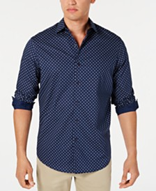 Tasso Elba Men's Stretch Medallion-Print Shirt, Created for Macy's