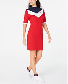 Mock Neck Bodycon Logo Dress