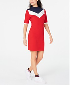Tommy Hilfiger Sport  Mock Neck Bodycon Logo Dress