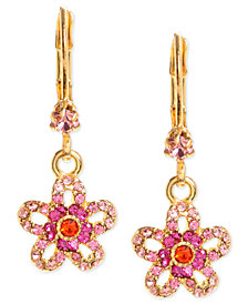 Betsey Johnson Gold-Tone Glass Crystal Flower Drop Earrings