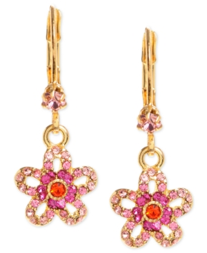 Betsey Johnson  GOLD-TONE GLASS CRYSTAL FLOWER DROP EARRINGS