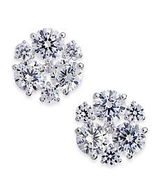 Danori Silver-Tone Cubic Zirconia Cluster Stud Earrings, Created for Macy's