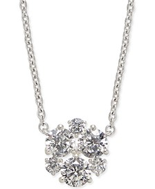 "Danori Silver-Tone Crystal Cluster Pendant Necklace, , 16"" + 1"" extender, Created For Macy's"