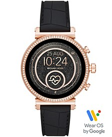 Access Women's Sofie Heart Rate  Embossed Black Silicone Strap Touchscreen Smart Watch 41mm, Powered by Wear OS by Google™
