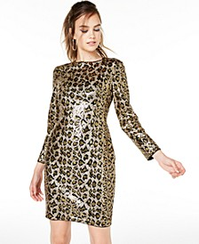 Leopard-Sequin Sheath Dress