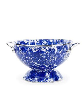 Golden Rabbit Enamelware 2 Piece Serving Spoon Set Cobalt Blue Swirl