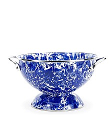 Golden Rabbit Cobalt Swirl Enamelware Collection 1.5 Quart Colander