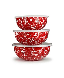 Red Swirl Enamelware Collection Mixing Bowls, Set of 3