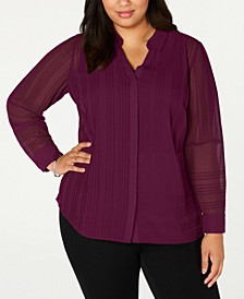 Plus Size Textured Button-Front Top, Created for Macy's