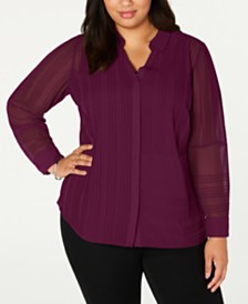 Alfani Plus Size Textured Button-Front Top, Created for Macy's