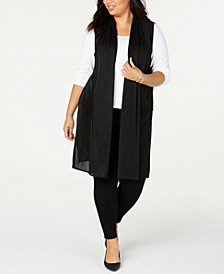Plus Size Pleated Mesh Duster Vest, Created for Macy's