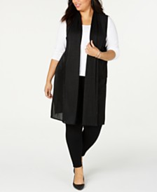 Alfani Plus Size Pleated Mesh Duster Vest, Created for Macy's