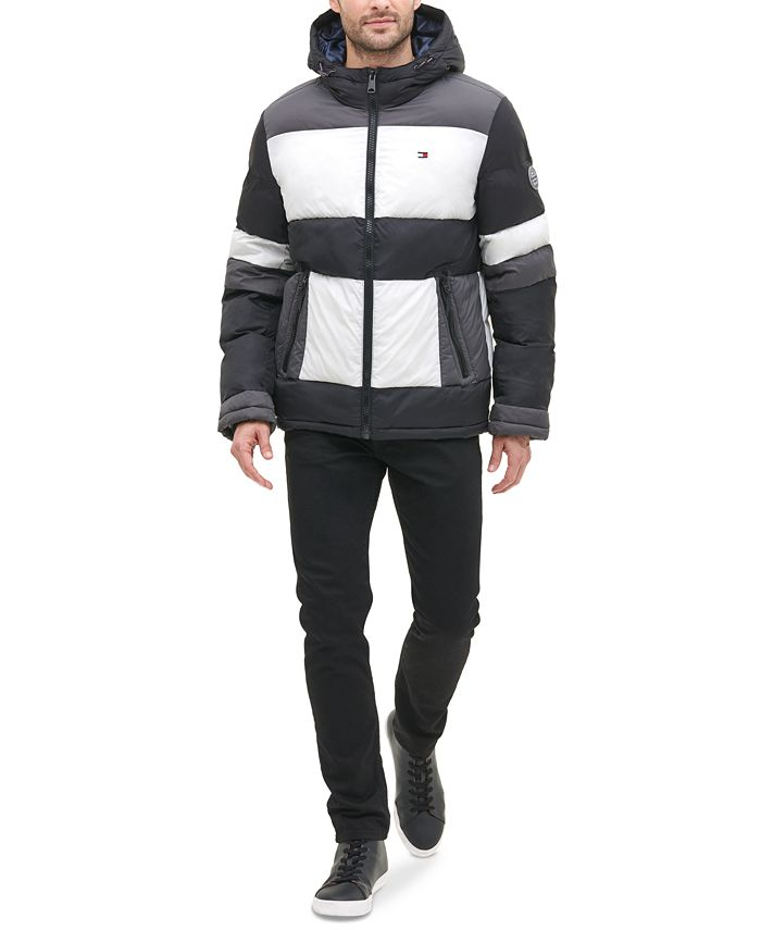 "Tommy Hilfiger - Men's ""CRAZY"" Colorblocked Hooded Puffer Coat"