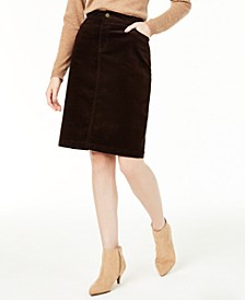 Petite Corduroy Tummy-Control Skirt, Created for Macy's