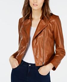 Michael Michael Kors Leather Moto Jacket, Regular & Petite Sizes
