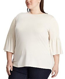 Lauren Ralph Lauren Plus Size Pintuck-Sleeve Knit Cotton Top