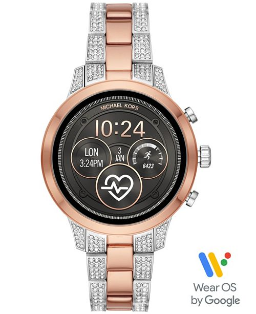 Michael Kors Access Women's Runway Two-Tone Stainless Steel & Crystal Bracelet Touchscreen Smart Watch 41mm, Powered by Wear OS by Google™