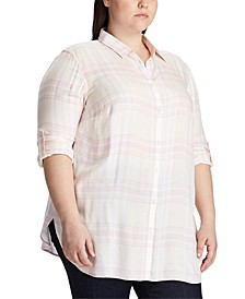 Plus Size Plaid-Print Button-Down Shirt