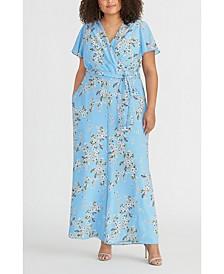 Plus Size Floral-Print Faux-Wrap Jumpsuit