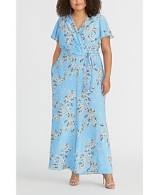 RACHEL Rachel Roy Plus Size Floral-Print Faux-Wrap Jumpsuit