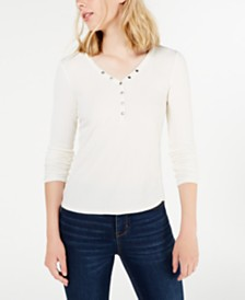 Hippie Rose Juniors' Rib-Knit Henley Top
