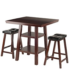 Orlando 3-Piece Set High Table, 2 Shelves with Cushion Seat Stools