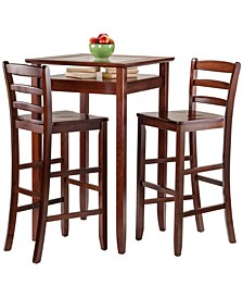 Halo 3-Piece Pub Table Set with 2 Ladder Back Stools