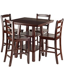 Orlando 5-Piece High Table, 2 Shelves with 4 Ladder Back Stools Set