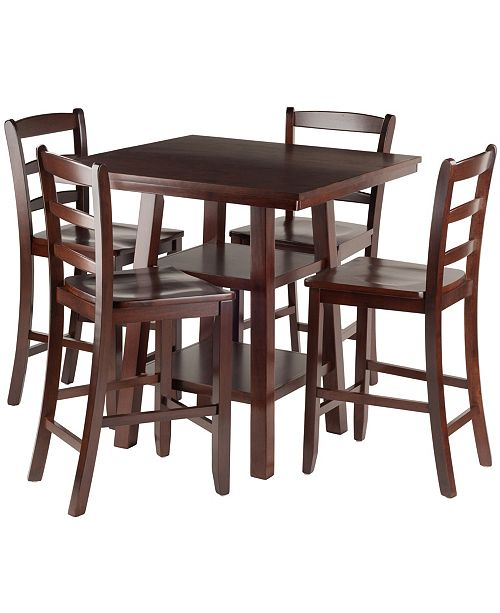 Winsome Orlando 5-Piece High Table, 2 Shelves with 4 Ladder Back Stools Set
