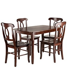 Wood Inglewood 5-Piece Dining Table with 4 Key Hole Back Chairs Set