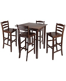"""Winsome Wood Parkland 5-Piece High Table with 29"""" Ladder Back Stools"""