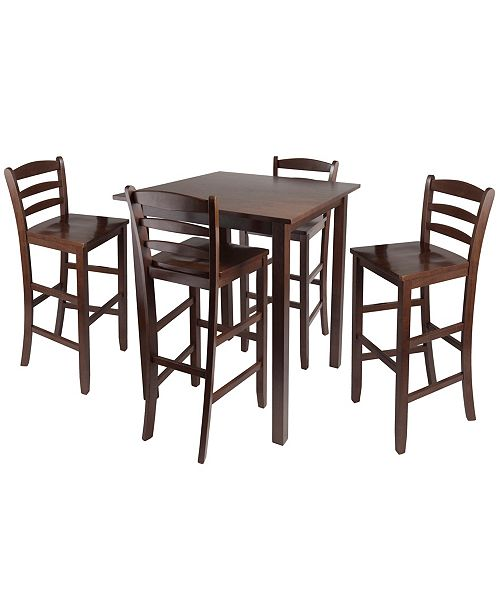 """Winsome Parkland 5-Piece High Table with 29"""" Ladder Back Stools"""