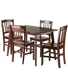 Shaye 5-Piece Set Dining Table with Slat Back Chairs