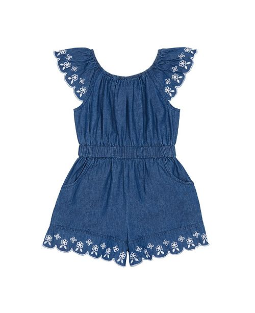 Flapdoodles Little Girls Denim Romper With Floral Embroidery