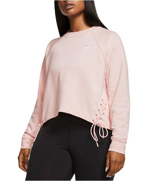 Nike Plus Size Sportswear Lace-Up Fleece Sweatshirt