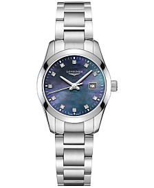 Longines Women's Swiss Conquest Classic Diamond-Accent Stainless Steel Bracelet 29.5mm