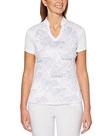 Printed V-Neck Golf Polo Shirt