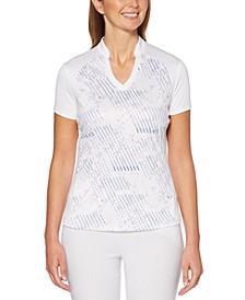 Printed V-Neck Golf Polo Shirt
