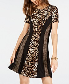 Leopard Print A-Line Dress, Regular & Petite