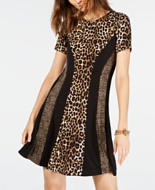 Michael Michael Kors Leopard Print A-Line Dress, Regular & Petite