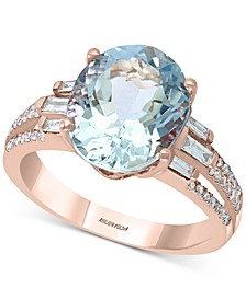 EFFY® Aquamarine (4-1/2 ct. t.w.) & Diamond (1/3 ct. t.w.) Ring in 14k Rose Gold