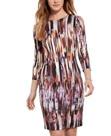 Karen Kane 3/4-Sleeve Printed Sheath Dress
