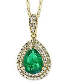 "EFFY® Emerald (1-1/3 ct. t.w.) & Diamond (1/4 ct. t.w.) 18"" Pendant Necklace in 14k Gold"