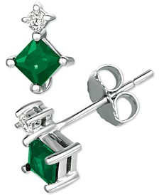 Emerald (5/8 ct. t.w.) & Diamond Accent Stud Earrings in 14k White Gold