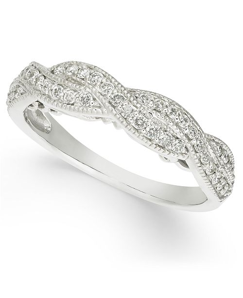 Macy's Diamond Braided Band (1/3 ct. t.w.) in 14k White Gold