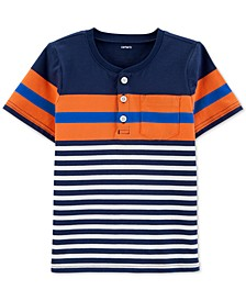 Toddler Boys Striped Cotton Henley T-Shirt