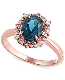London Blue Topaz (1-3/8 ct. t.w) & Diamond (1/8 ct. t.w.) Statement Ring in 14k Rose Gold