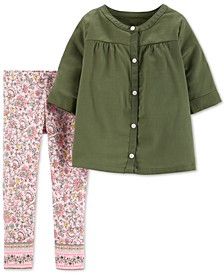Toddler Girls 2-Pc. Sateen Top & Printed Leggings Set